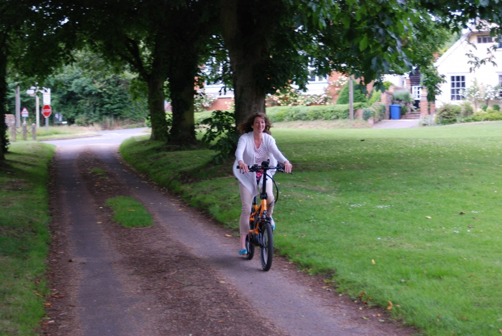 Helen rides the blueLABEL pony electric bike