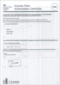 Number Plate Authorisation Certificate